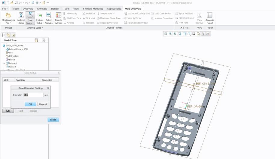 Adicionar pontos de injeção manualmente ou automaticamente, em seguida, especificar o diâmetro.