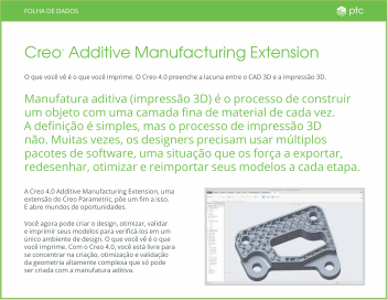 Datasheet: Creo Additive Manufacturing Extension
