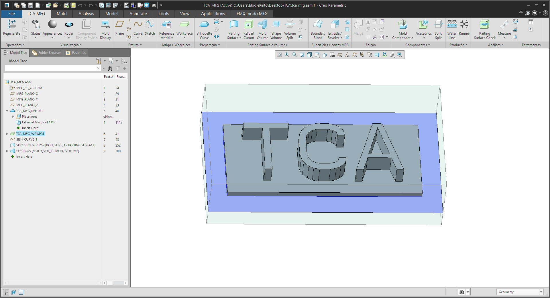 PTC Creo tutorial volume split